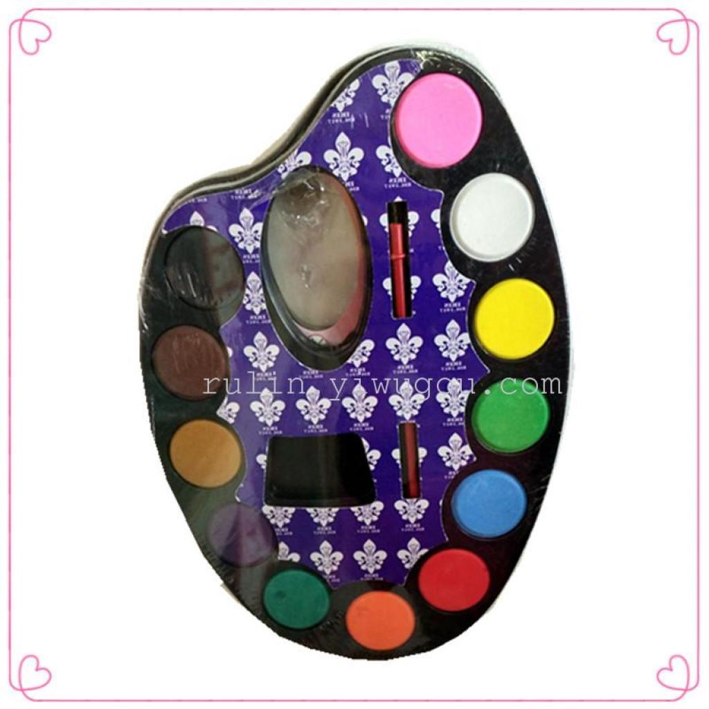 颜料马蹄粉饼颜料12色儿童颜料