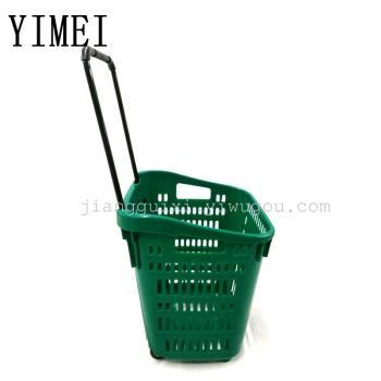 Supermarket shopping basket plastic pull rod type shopping cart