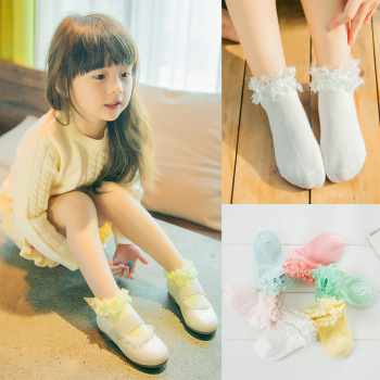 Korean cute socks candy color lace socks cotton socks