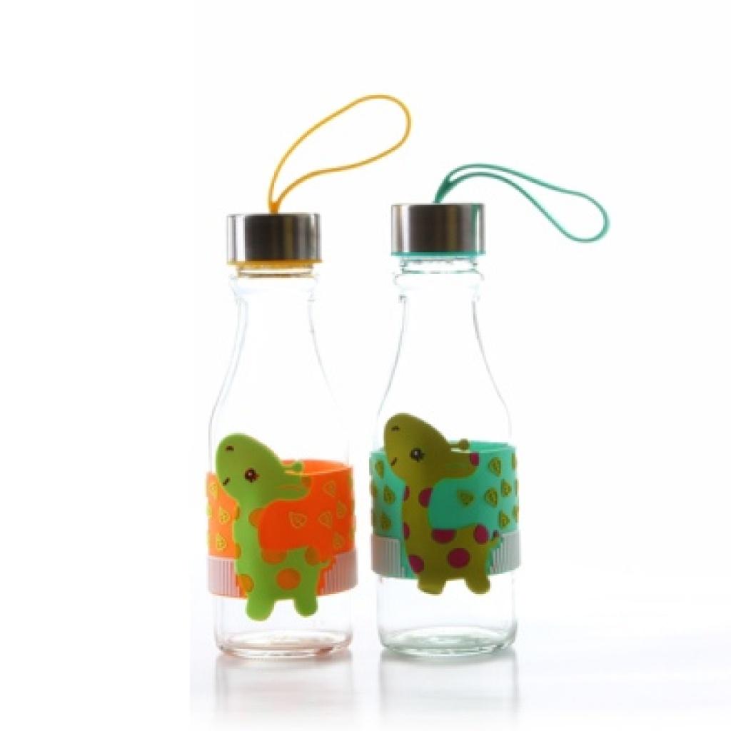 380ml卡通长颈鹿便携式玻璃汽水瓶 运动水杯