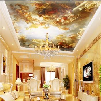 欧式超大尺寸高清微喷油画|吊顶宫廷人物画