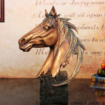 欧式古典树脂工艺摆件 仿雕塑大马头摆件 马到成功 树脂摆设图片