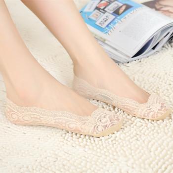 socks, ladies, slim, South Korea, lace, invisible ship socks, pure cotton socks, socks, silica gel, anti slip.