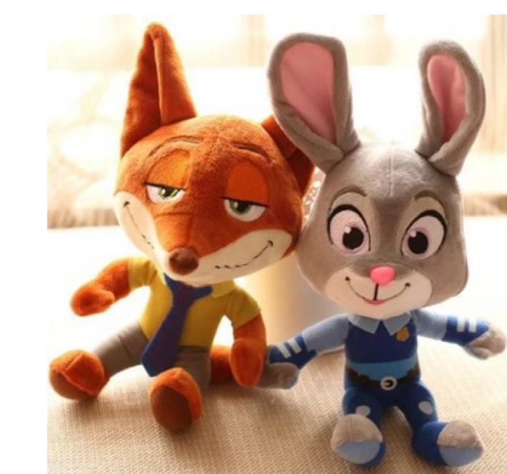 疯狂动物城 毛绒玩具 狐狸尼克 朱迪兔玩偶布娃娃公仔
