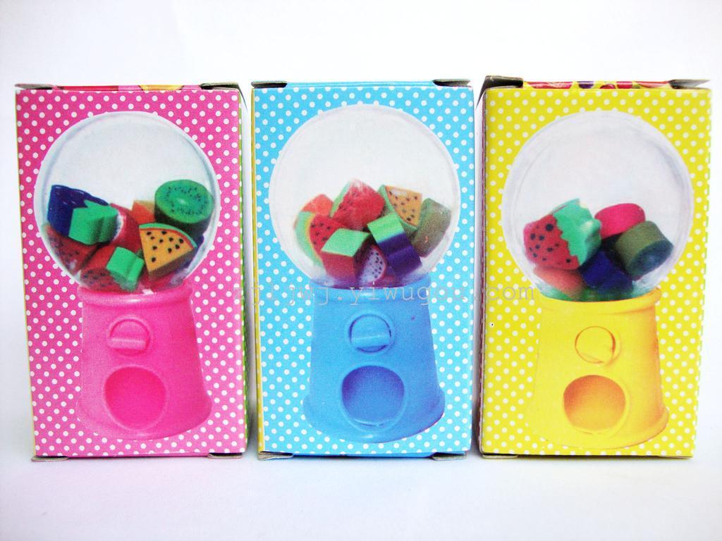 可爱扭蛋机卡通水果造型橡皮擦 儿童礼物小学生奖品