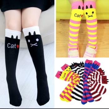 Number of heat tube socks children socks wholesale small striped cat in Korean high straight pile Princess socks socks