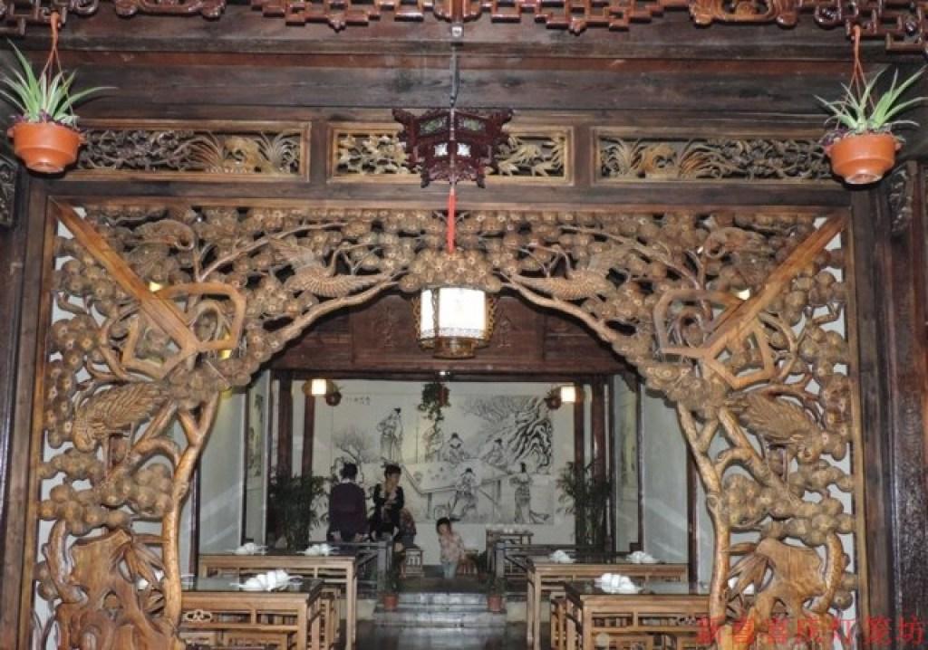木雕六角中式复古吊灯