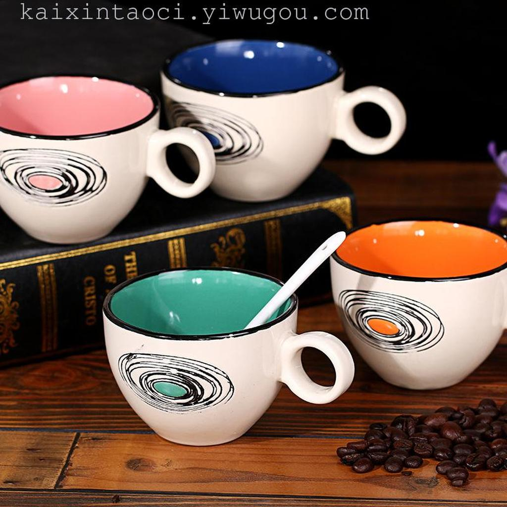 彩色内壁陶瓷创意手绘情侣早餐牛奶卡布奇诺咖啡杯碟套装