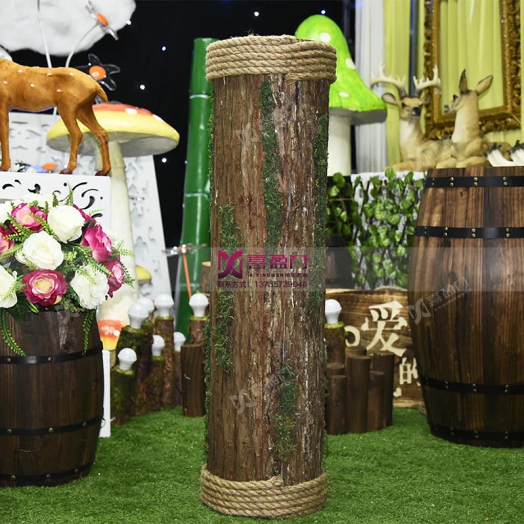 森系婚礼路引 麻绳木桩婚礼布置t台路引装饰图片