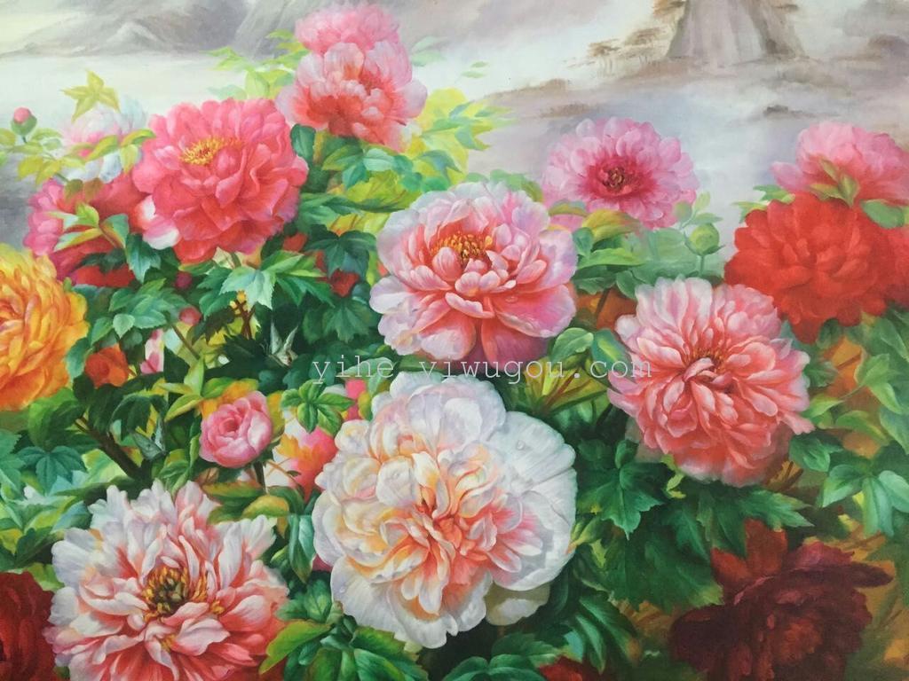 最新纯手绘花开富贵|纯手工牡丹花油画|高档沙发背景画