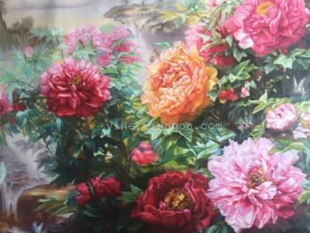 超大尺寸花开富贵油画|客厅沙发挂画|牡丹花写实油画