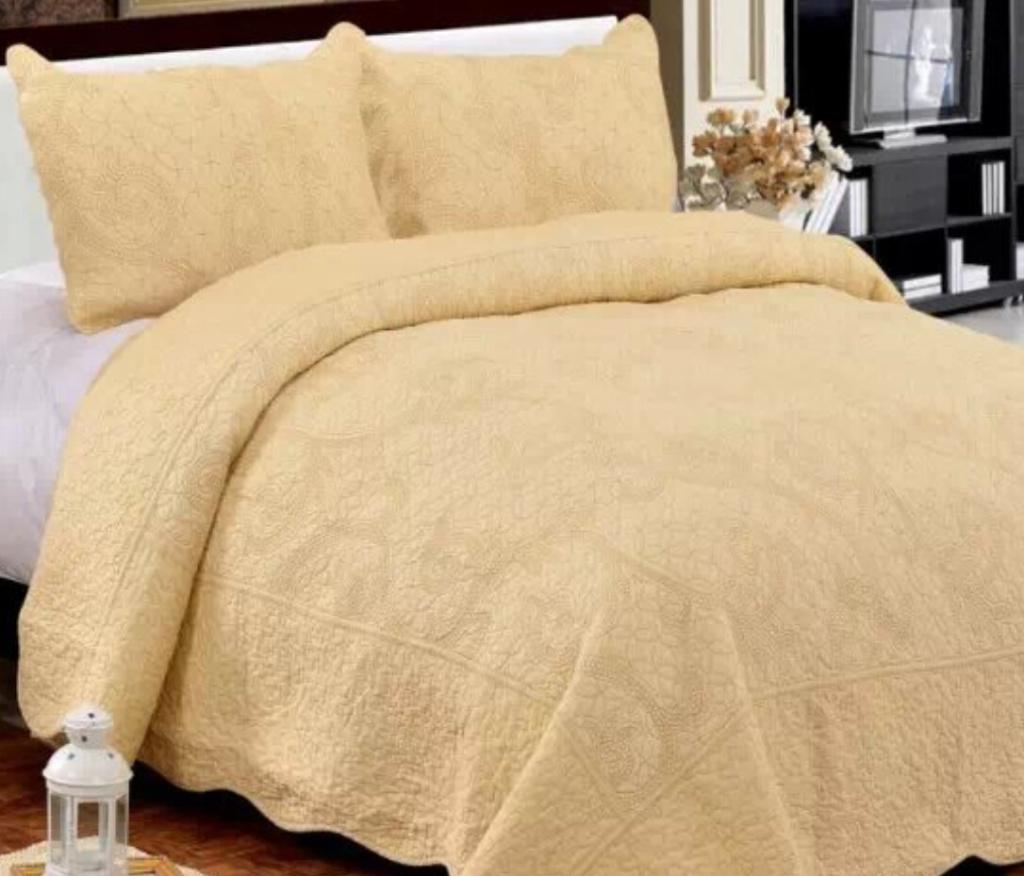 床盖三件套欧式高档外贸全棉床罩绗缝被纯色素色被单空调被