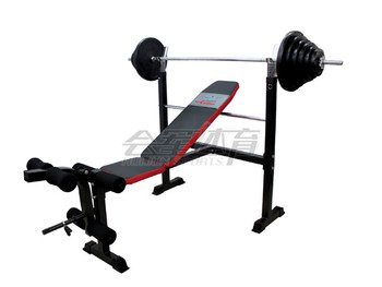 HJ-B057 standard weight lifting bench(with 80KG rubber barbell)