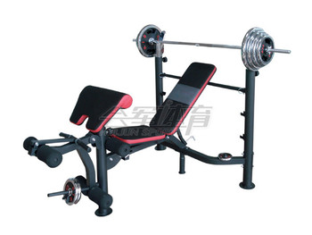 HJ-B061 Standard Weight Lifting Bench (with 100KG chrome plated barbell)