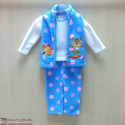 Yiwu to buy Korean Summer Boys and girls 2017 embroidered tiger towel embroidery version three piece sleeve