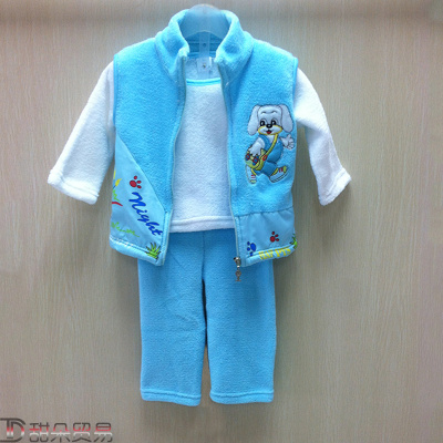 2017Yiwu to buy Korean summer children puppy towel embroidery embroidery long sleeved three piece version