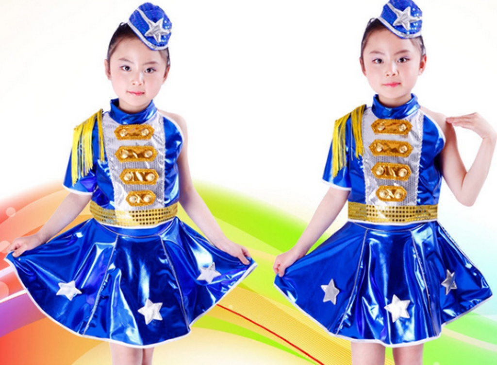 2016凯维特儿童舞蹈服演出服五角星女童爵士舞服新款