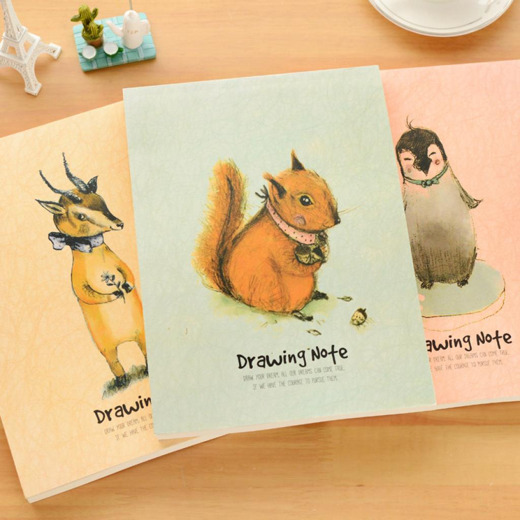 超厚可爱动物素描本 空白涂鸦本创意速写本便携日记本子