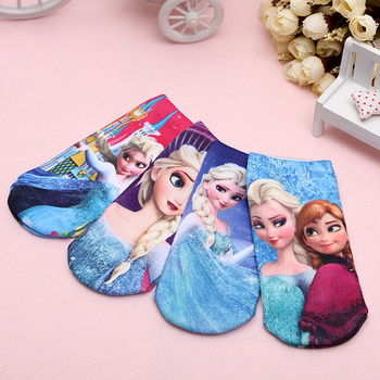 Ice and snow hot selling hot transfer cartoon printing socks cartoon socks fashion children's printed socks