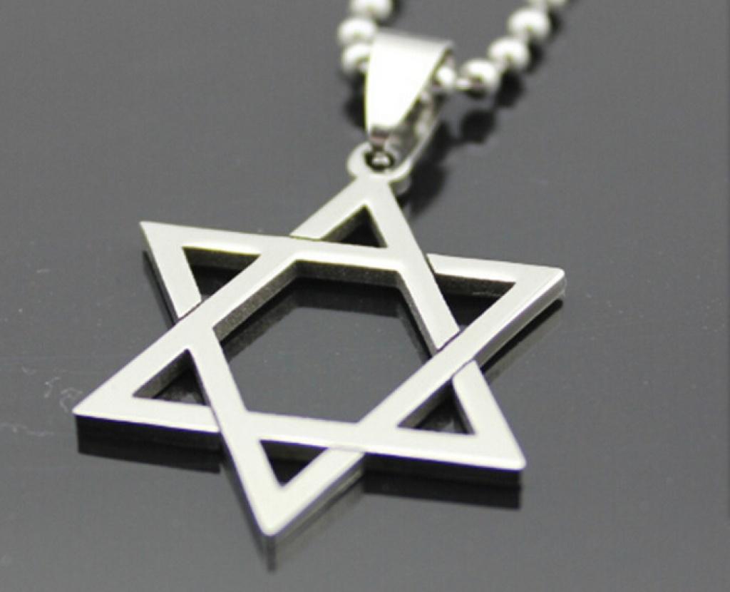 速卖通爆款 钛钢六芒星吊坠不锈钢六角星项链批发