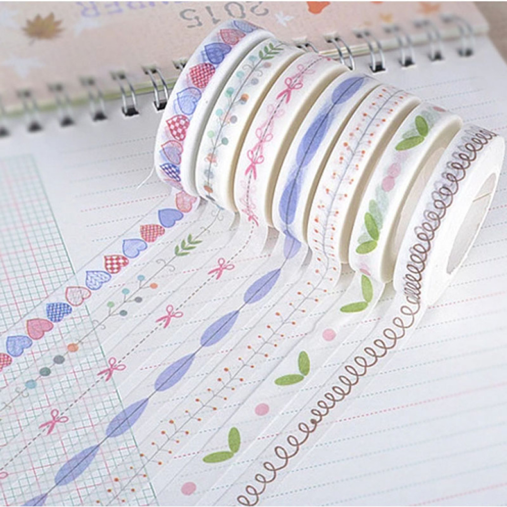 【阿固agu】和纸胶带小清新系列手绘爱心边框分割线胶带批发