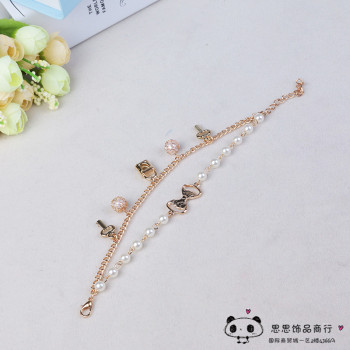 A Korean fashion jewelry chain multi Pearl Bracelet Anklet all-match temperament