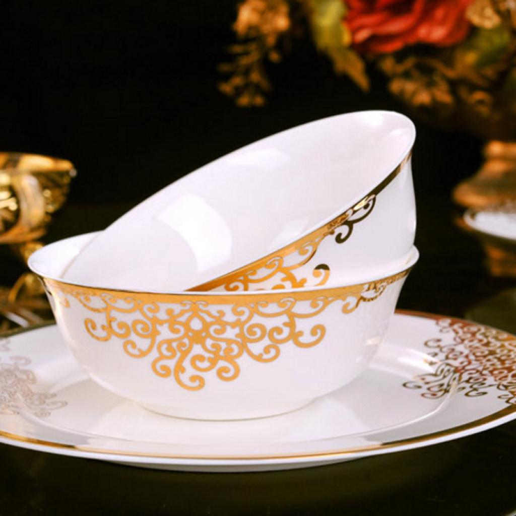 景德镇陶瓷器 欧式金边餐具套装高脚碗