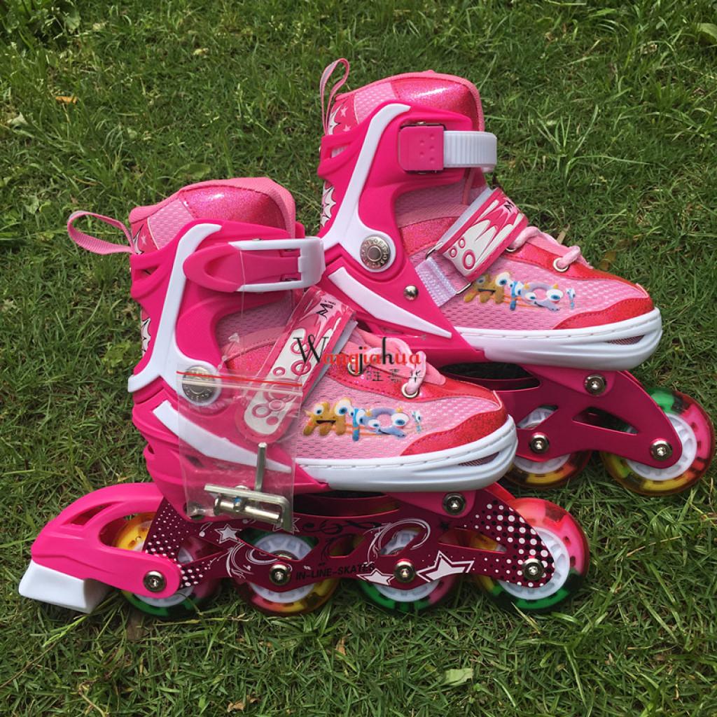 套装溜冰鞋轮滑旱冰鞋排轮全闪光花式轮滑男女手提袋可调