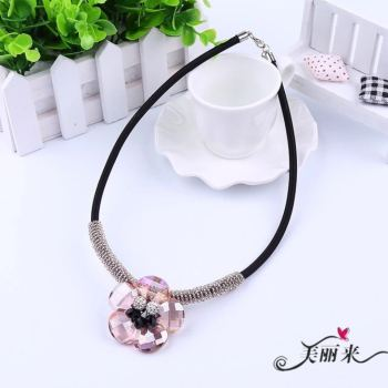 Crystal flower necklace fashion beaded multicolor necklace factory direct handmade jewelry