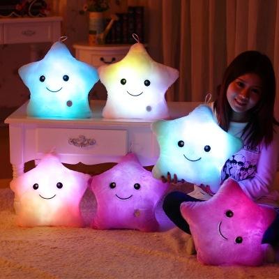 Creative cartoon pillow pillow pillow Emoji LED LED luminous stars pillow