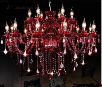 欧式红色水晶吊灯 k9水晶漫咖啡厅客厅卧室