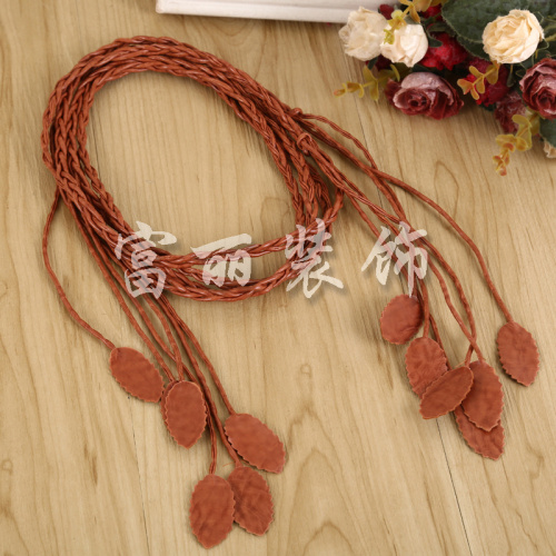 Leaf shape knitting belt shoes with pure hand materials accessories accessories