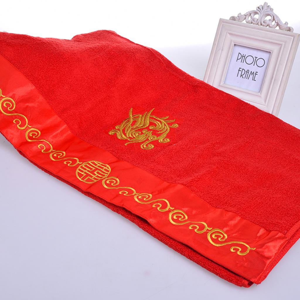 批发大红纯棉环保绣龙凤喜字婚庆礼品浴巾 可以加绣客人logo