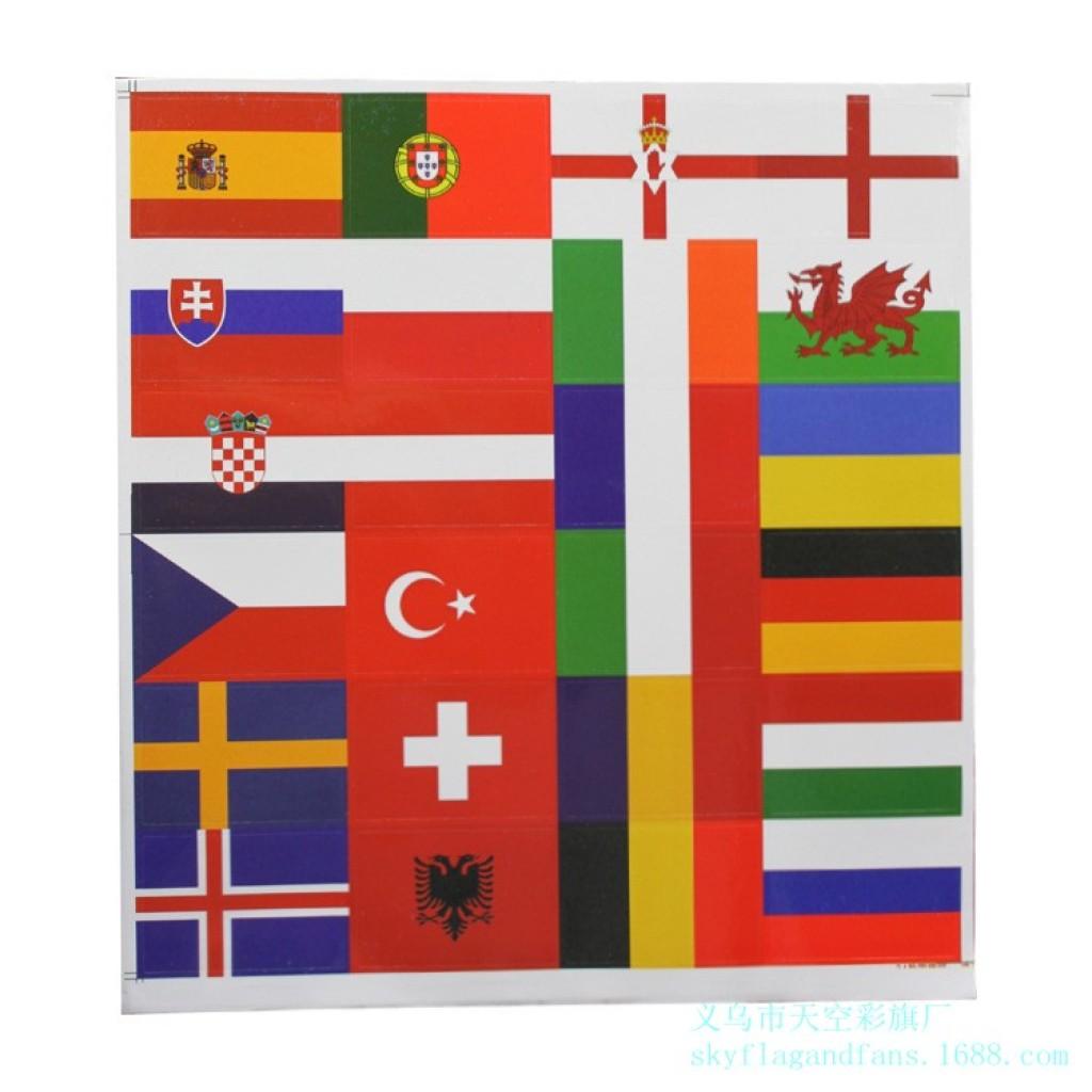 欧洲杯24强国家国旗贴纸脸贴足球球迷助威不干胶贴纸现货
