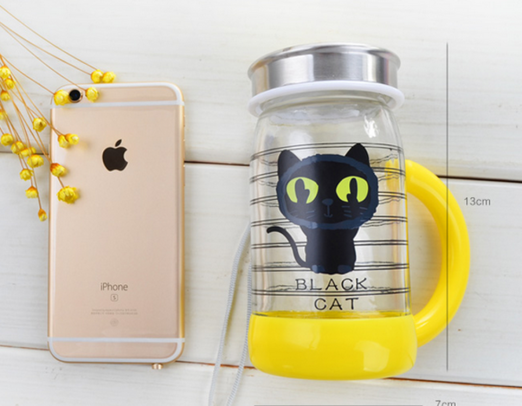 300ml可爱卡通猫咪手柄玻璃杯