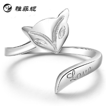 Female Fire Fox retro ring 925 sterling silver ring GNJ0282