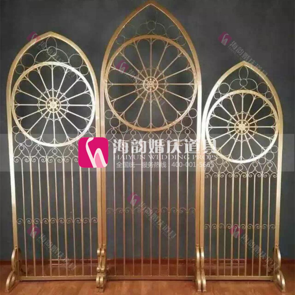 义乌海韵婚庆 新品 欧式背景装饰门 婚礼道具 铁艺屏风