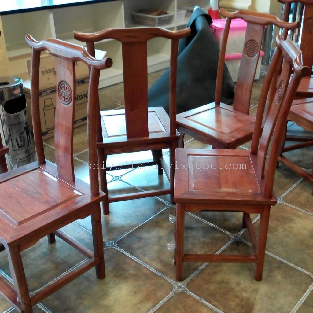 赣州酒店餐桌椅复古官帽椅 酒店包厢椅饭店实木椅