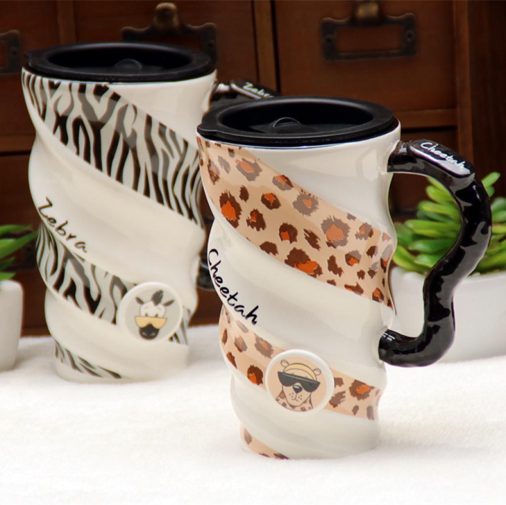 创意动物纹彩绘大容量螺纹创意陶瓷杯豹纹杯子