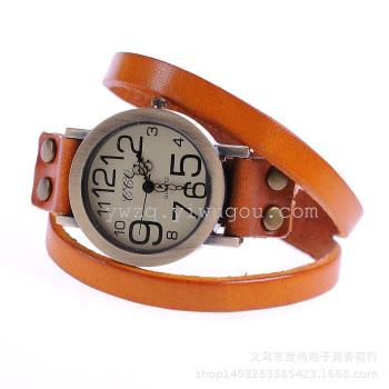 Europe and the United States real leather watch retro large dial double winding Leather Watchband Bracelet Watch