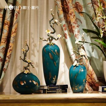 罗比罗丹欧式花瓶别墅家居装饰品摆件纯手工高端珐琅彩花插工艺品
