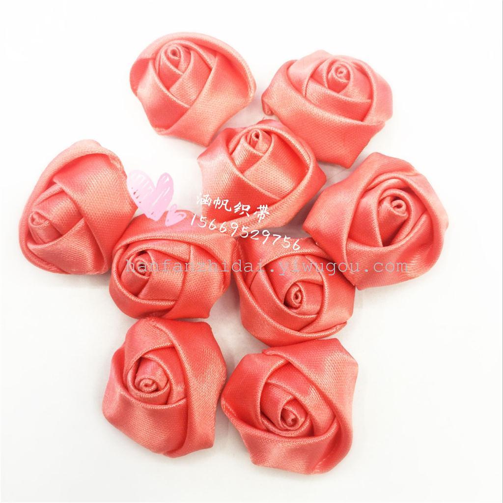 彩带织带手工玫瑰花 蝴蝶结发饰发圈配件