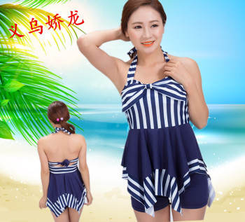 Striped swimsuit split female swimsuit