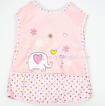 Children printed cotton vest type Lace Baby Bib Apron dress painting clothes meal