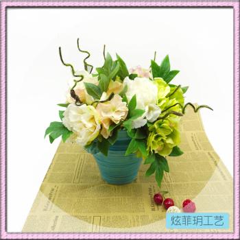 High-grade silk flowers wholesale. Artificial flowers rose Hydrangea potted wedding hotel restaurant decoration