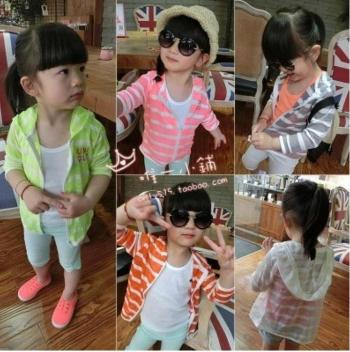 Soft cap coat striped baby breathable lightweight mosquito clothes wear sunscreen clothing