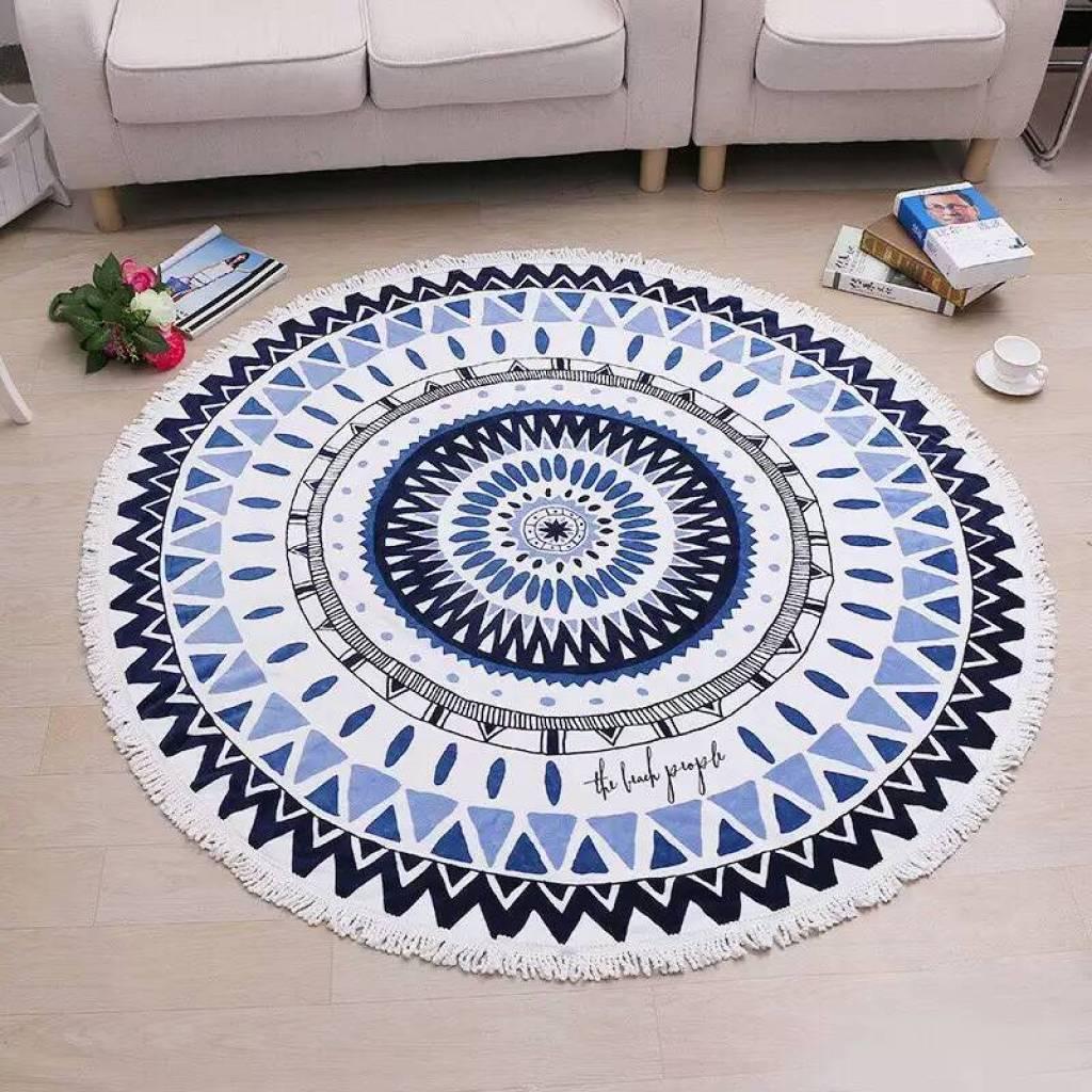 6*1.6米纯棉活性印花带流苏圆形沙滩巾 毛巾料地毯