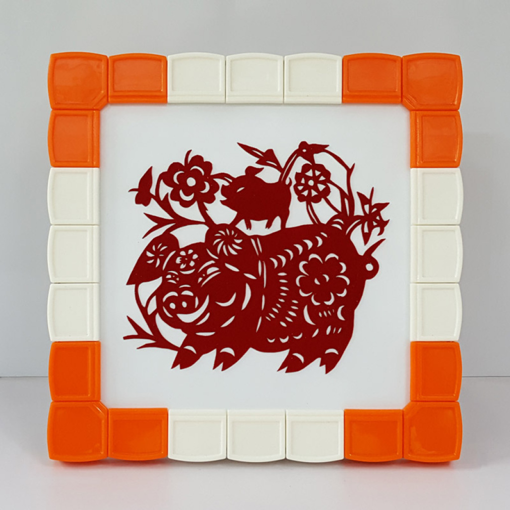 幼儿园新年礼物亲子 diy 手工模块相框磁性剪纸装裱画框摆件