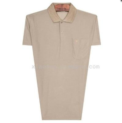 A middle-aged man short sleeved T-shirt lapel on behalf of polo in old men's clothes in summer