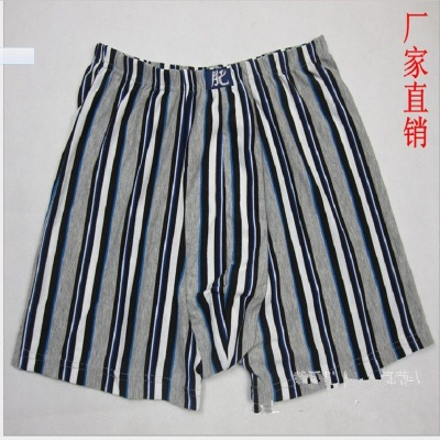 Fat XL men underwear pants polyester cotton loose fat fat stripe cotton four angle oversized trousers